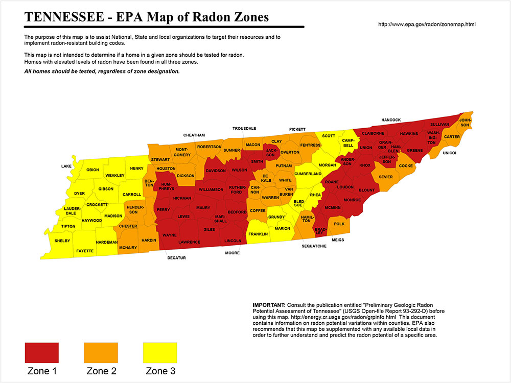 Find A Radon Contractor In Tennessee RadonAway - Map of tn counties